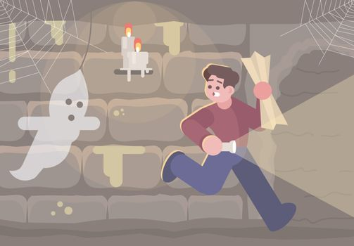 Horror escape room flat vector illustration. Man in basement running from ghost cartoon character. Scared young boy in quest room looking for exit. Thematic logic game. Modern entertainment