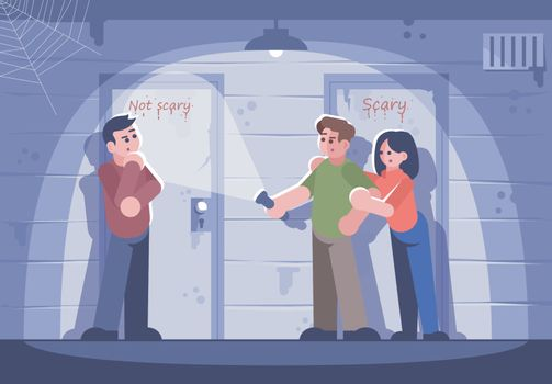 Friends in quest room flat vector illustration. Young woman and men choosing door cartoon characters. Difficult decision, important choice. People in escape room. Teamwork, logic game