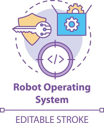 Robot operating system concept icon. Robotics software idea thin line illustration. Information technologies and innovative programming. Vector isolated outline drawing. Editable stroke