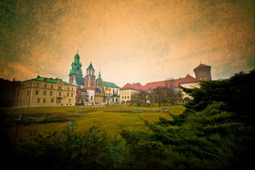 View of Wawel Castle in Cracow, Poland. Retro vintage, grunge style.