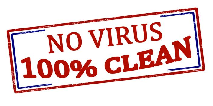 Rubber stamp with text no virus one hundred percent clean inside, vector illustration