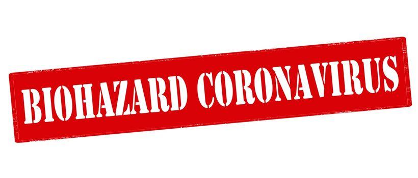 Rubber stamp with text biohazard coronavirus inside, vector illustration