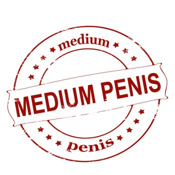 Rubber stamp with text medium penis inside, vector illustration