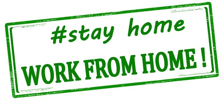 Rubber stamp with text stay home work from home inside, vector illustration