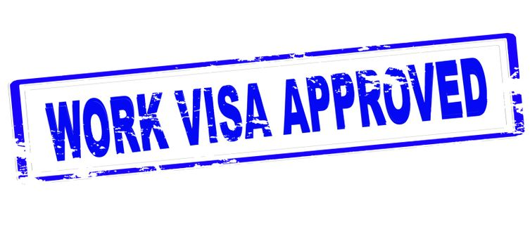 Rubber stamp with text work visa approved inside, vector illustration