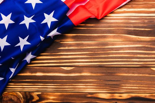 Happy Memorial Day, American USA flag on wood