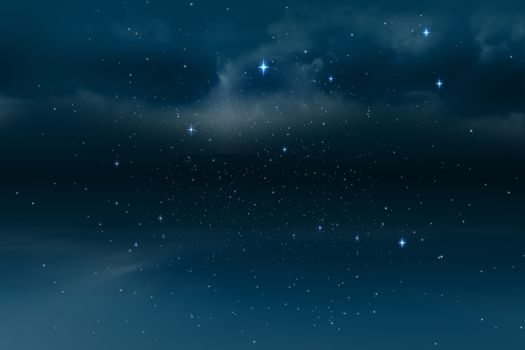 Stars twinkling in night sky