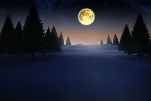 Full moon over snowy landscape