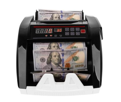 Electronic money counter withhundred dollars banknotes on white
