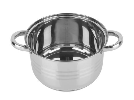 chrome pan without a lid isolated on white background