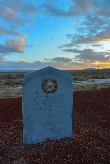 Monument on the side of the road with a five-pointed star, New Mexico