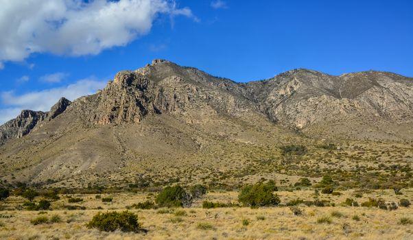Big cumulus clouds in a mountain landscape in New Mexico