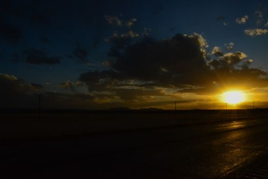 Big cumulus clouds in the evening during sunset in New Mexico