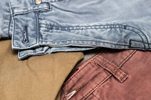 denim texture in different colors. Denim jeans background, space to copy your design or text.