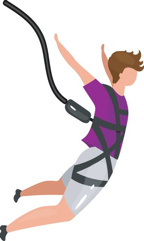 Bungee jumping flat vector illustration