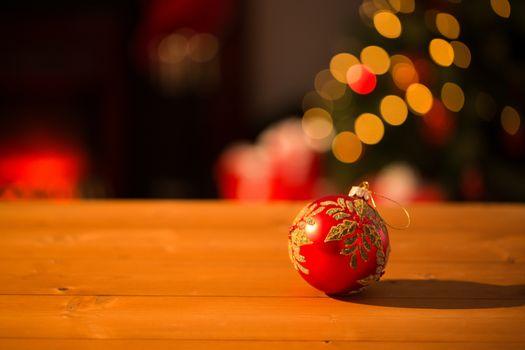 Christmas bauble on desk