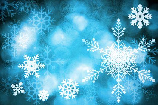 Blue snow flake background
