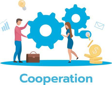 Cooperation flat vector illustration