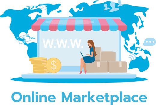 Online marketplace flat vector illustration