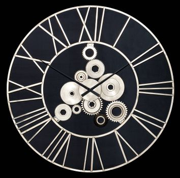 Round industrial wall clock made of white metal and real gears isolated on a black background.
