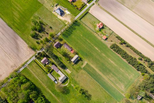 Aerial view photo from flying drone of fields before harvest at summer in the countryside