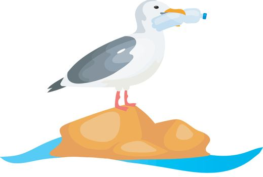 Seagull with plastic bottle in beak flat concept icon