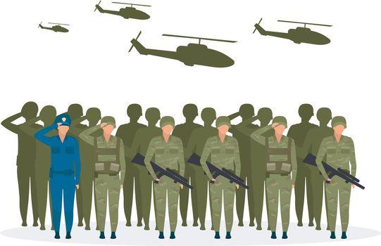 Military regime flat vector illustration
