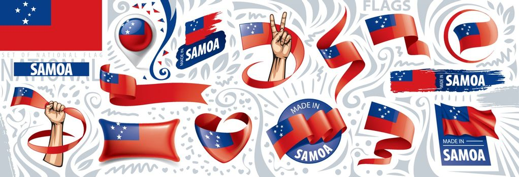 Vector set of the national flag of Samoa in various creative designs.