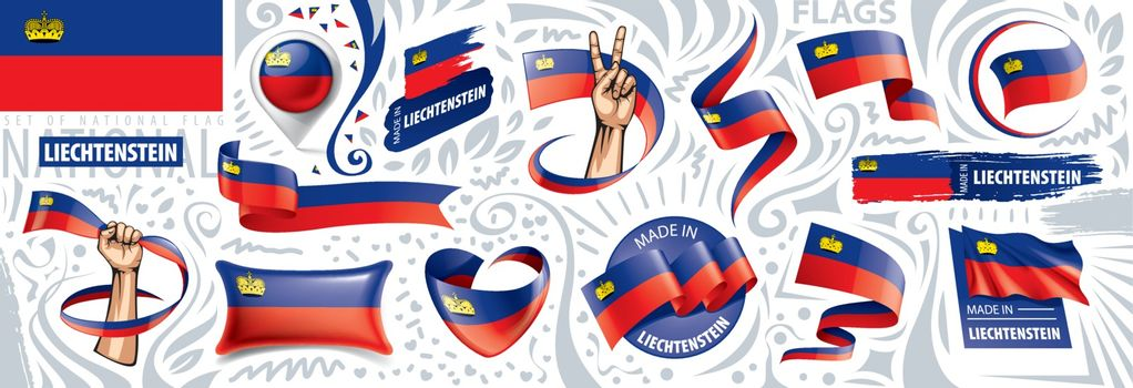 Vector set of the national flag of Liechtenstein in various creative designs.