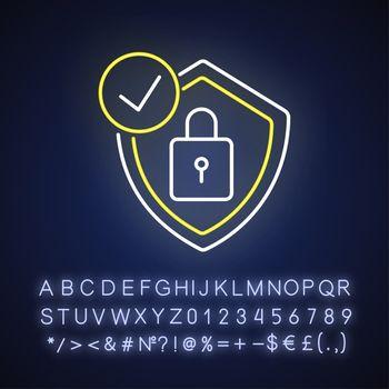 Antivirus neon light icon