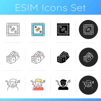 Traditional recreational games icons set
