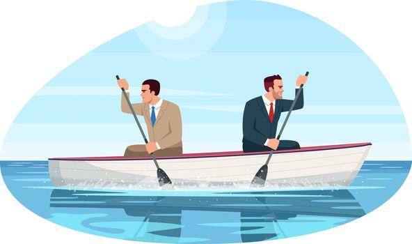 Business competition metaphor semi flat vector illustration