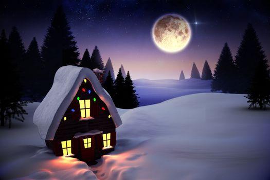 Christmas house under full moon