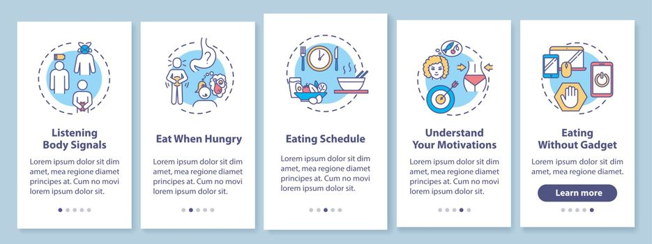 Healthy eating habits onboarding mobile app page screen with concepts. Schedule and listening body signals walkthrough 5 steps graphic instructions. UI vector template with RGB color illustrations.