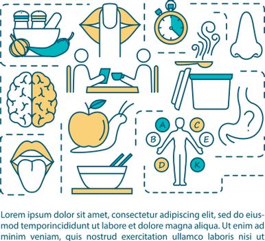 Conscious nutrition rules concept icon with text. Eating place and schedule, body signals listening. PPT page vector template. Brochure, magazine, booklet design element with linear illustrations.