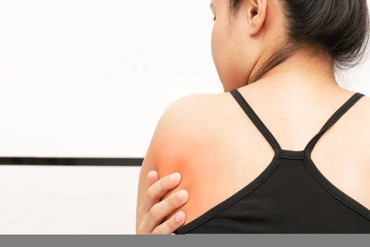 young women back and shoulder pain injury, healthcare and medical concept
