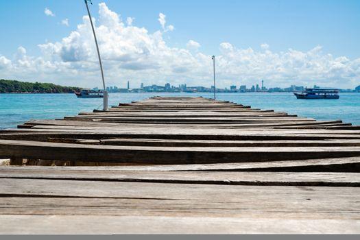 wooden bridge pier in the sea at Khao Lan, opposite with Pattaya