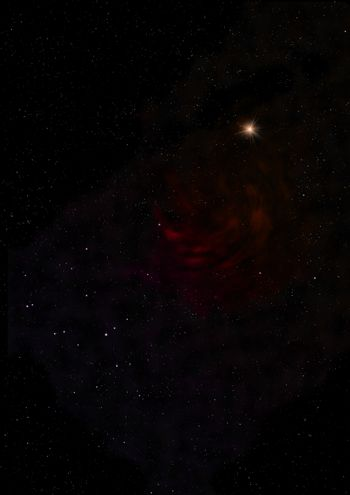 Distant flickering star array and cold cosmic nebula.