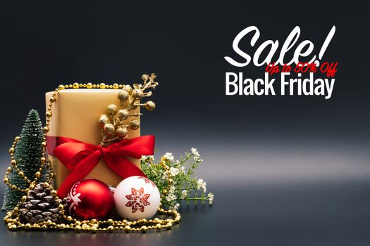 Black Friday Sale concept, Christmas gift box on black background