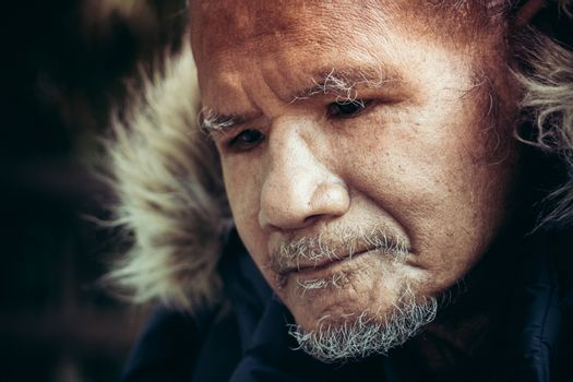 Human rights concept, poverty old man, portrait of poor man