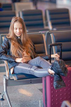 Beautiful girl in international airport