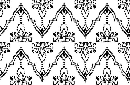 Ethnic indian line art border in mehendi ethnic style on a white background
