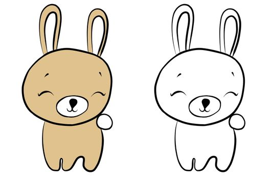 drawing of a cartoon cute toy rabbit - in color and line art, coloring page