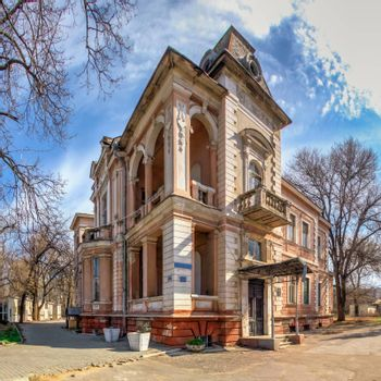 Odessa, Ukraine 03.17.2020. Ruined Marazli house in Odessa, Ukraine, on a sunny spring morning