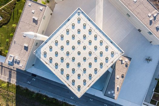 Top aerial view of modern archiecture of islamic religious cultural centre in Ljubljana, Slovenia, Europe.