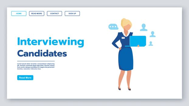 Interviewing candidates landing page vector template. Recruitmen