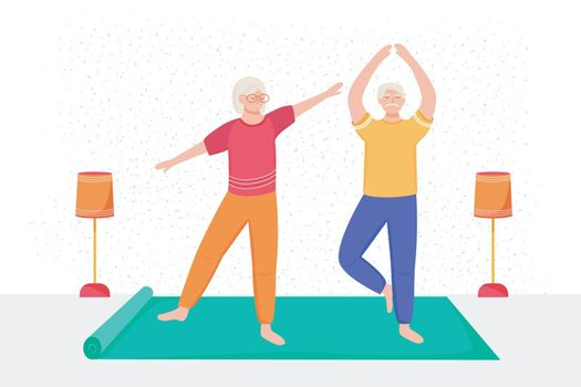 Retired people training flat vector illustration. Physical exercise. Healthy lifestyle. Old couple spends time together. Pensioners doing yoga at home cartoon characters