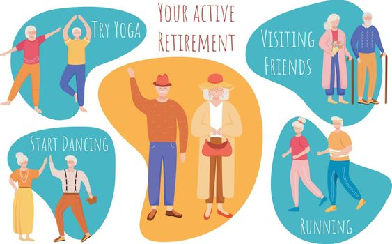 Your active retirement vector infographic template. Try yoga. Poster, booklet page concept design with flat illustrations. Start dancing. Advertising flyer, leaflet, banner layout idea