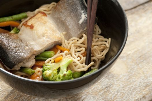 Healthy Asian vermicelli noodles with fish