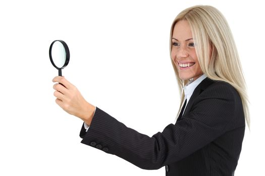 Business woman search with magnifier isolated on white background